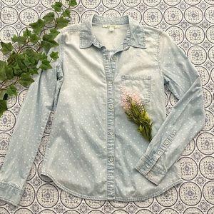 mi ami dotted chambray shirt